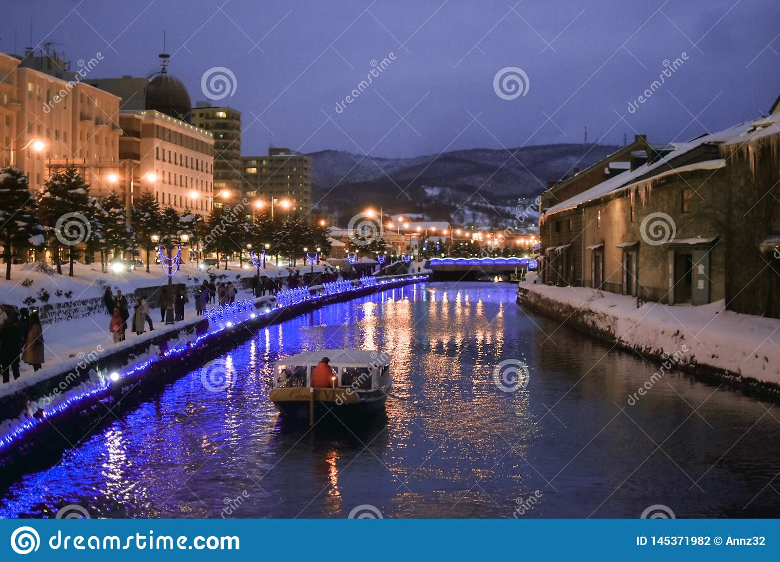 A boat is floating on Otaru Canal