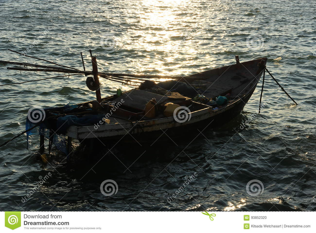 Boat floating in the sea stock photo  Image of built - 93852320