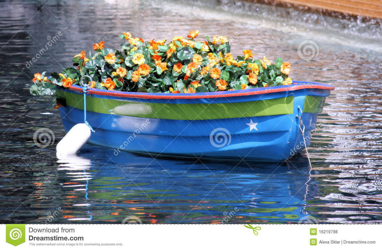 Boat With Flowers Royalty Free Stock Photos Image 16219798