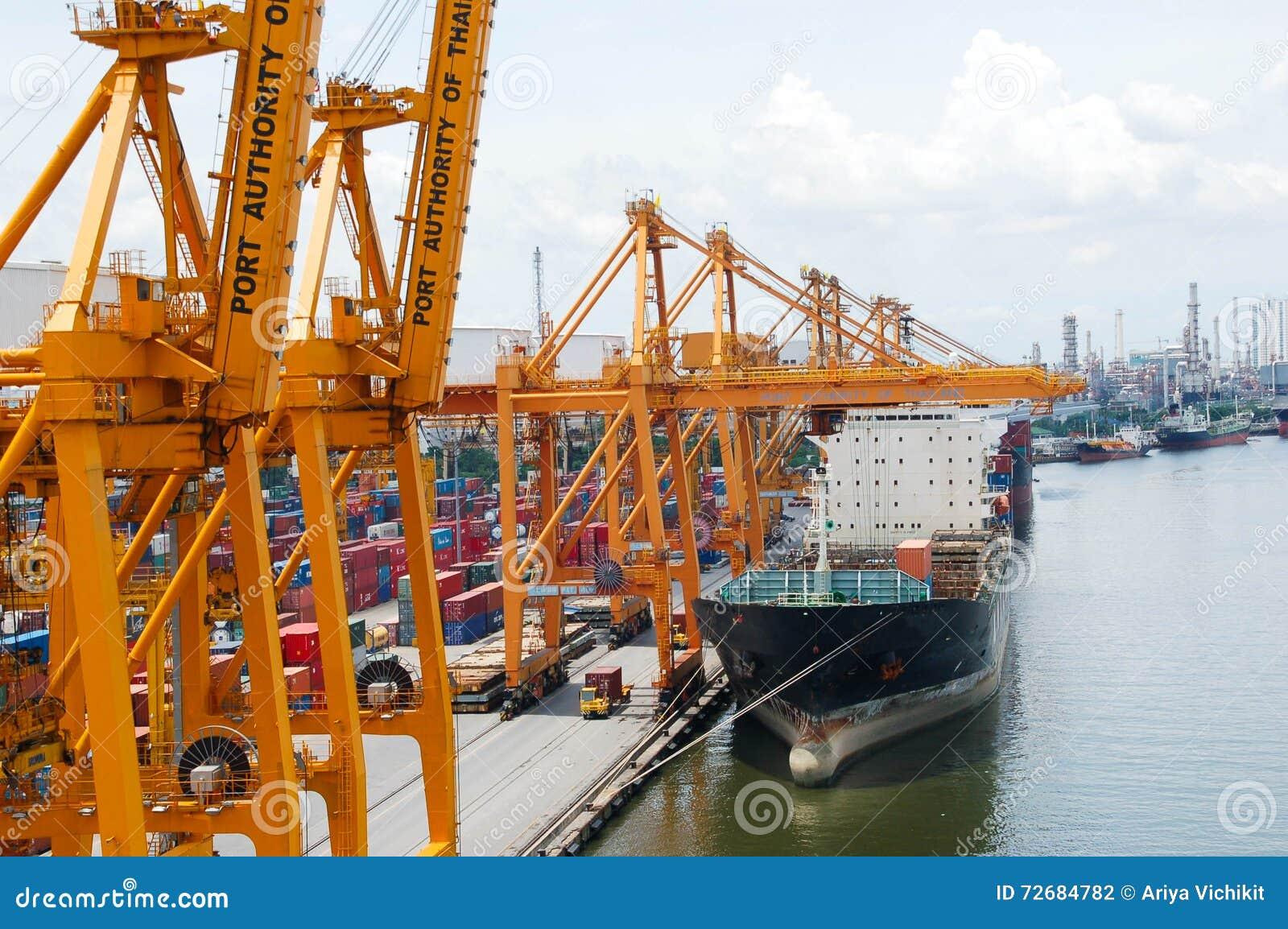 Boat Freight Transportation And Bangkok City Editorial