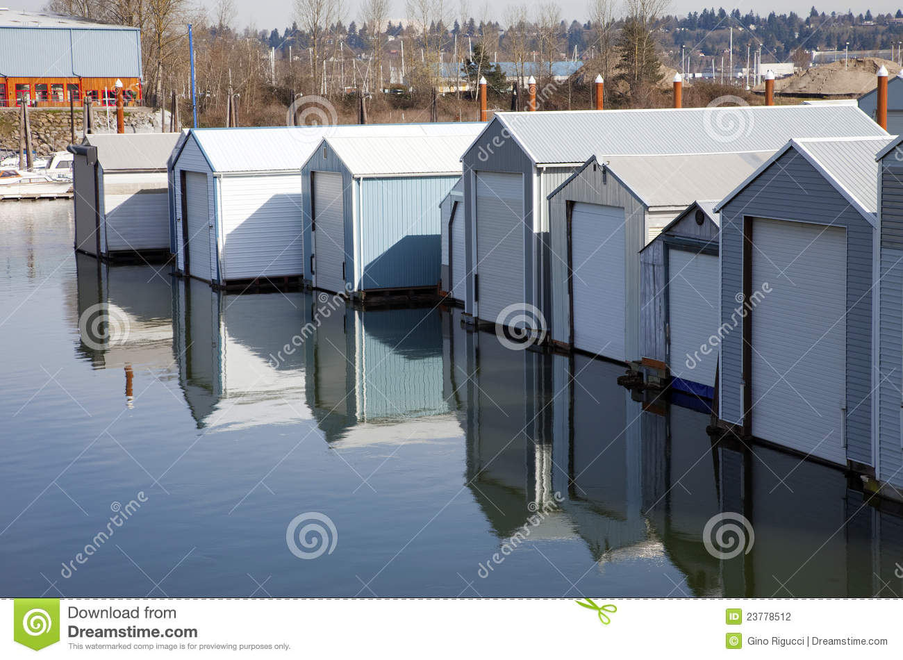 Boat Garages In A Marina Portland Or Stock Photography