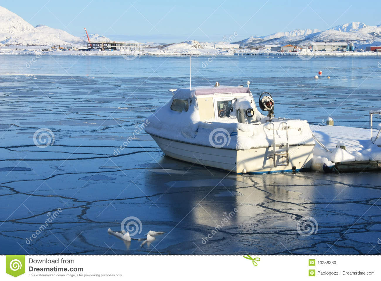 Boat on icy bay