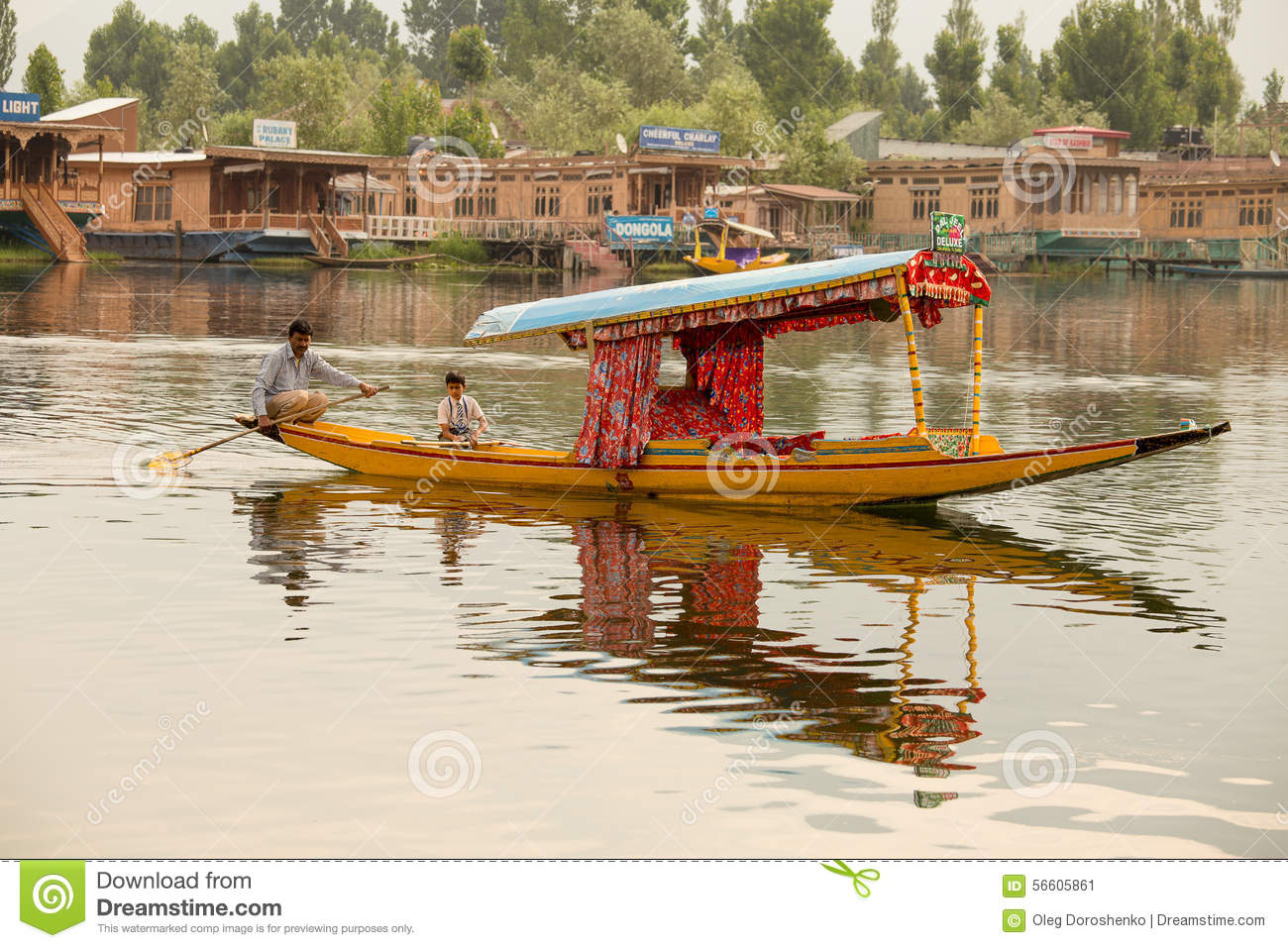 Boat And Indian People In Dal Lake. Srinagar, Jammu And Kashmir State, India Editorial Photo ...