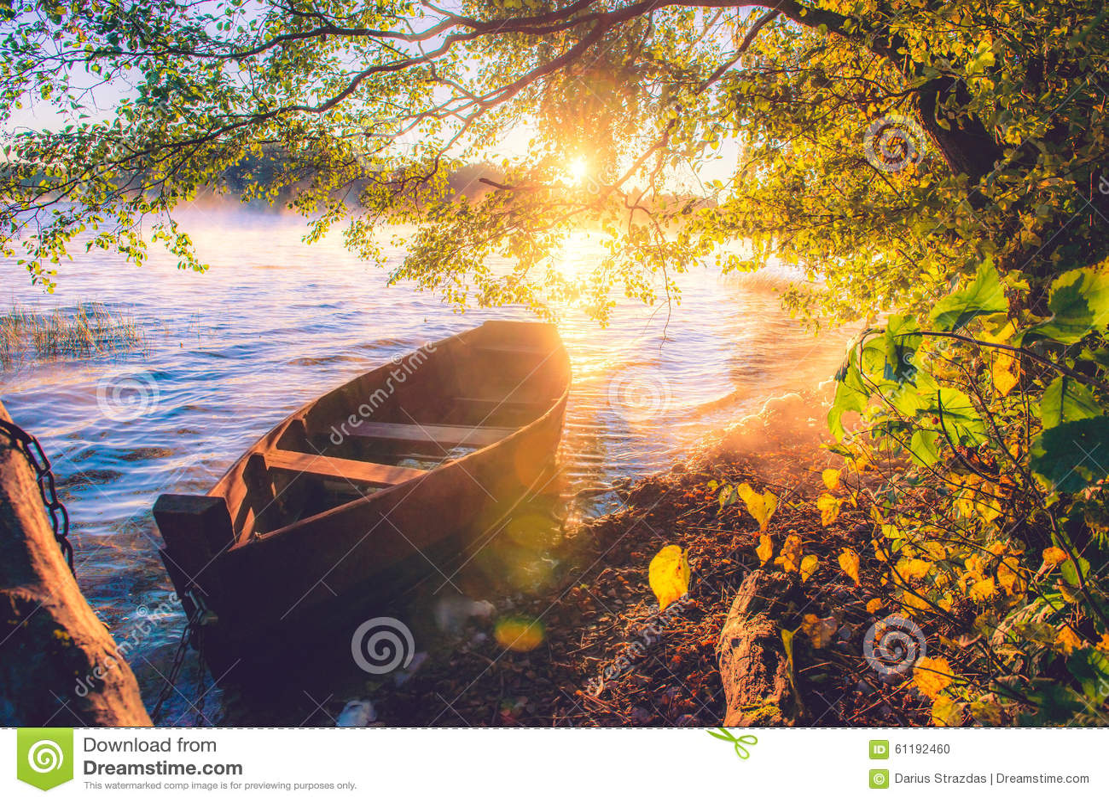 Boat in lake, sunrise stock photo. Image of boat, float - 61192460