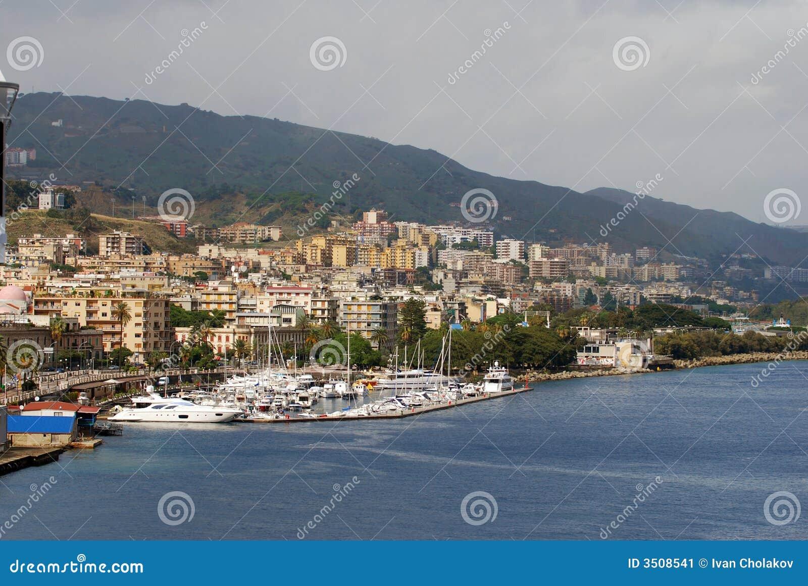 Boat marina and coastal scene