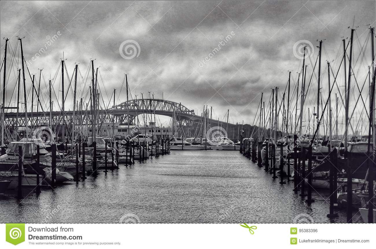 Boat Marina and Harbor Bridge