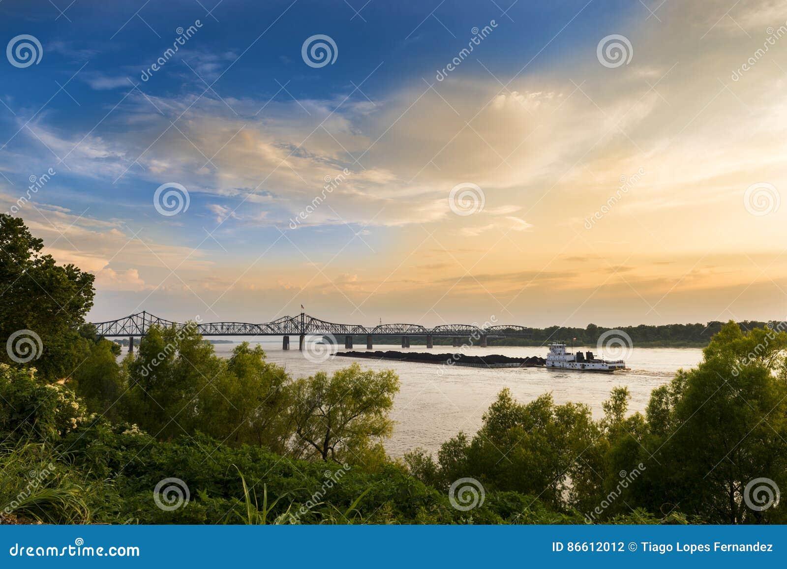 Boat in the Mississippi River near the Vicksburg Bridge in Vicksburg, Mississipp