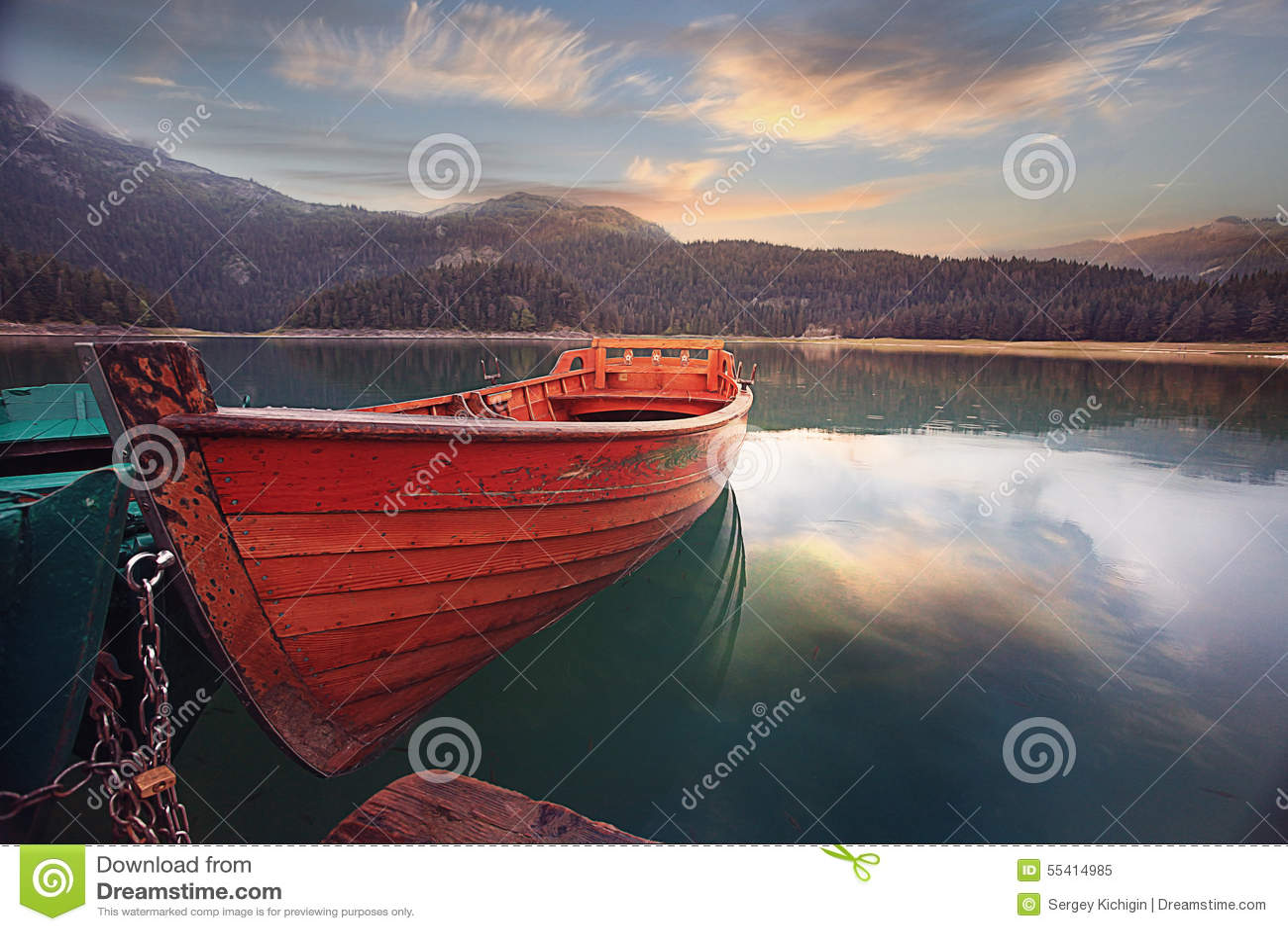 Boat On A Mooring Mountain Lake Stock Image - Image: 55414985