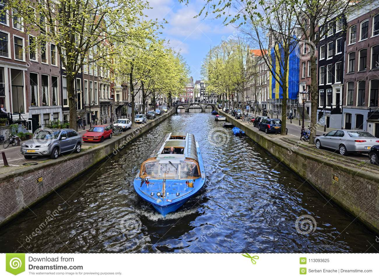 Boat on canal in Amsterdam