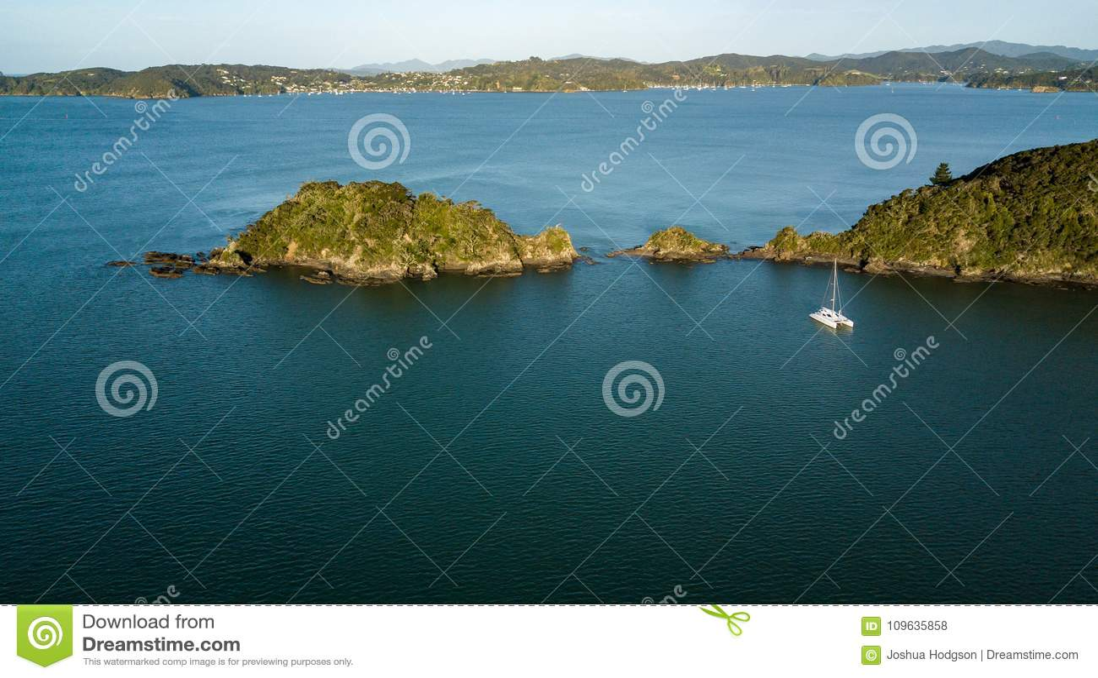 Boat In New Zealand Bay Of Islands, Paihia Stock Photo