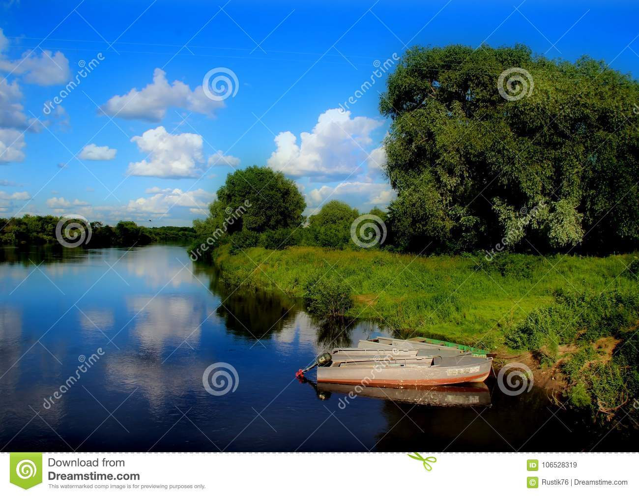 Boat on the picturesque bank of the river Klyazma.