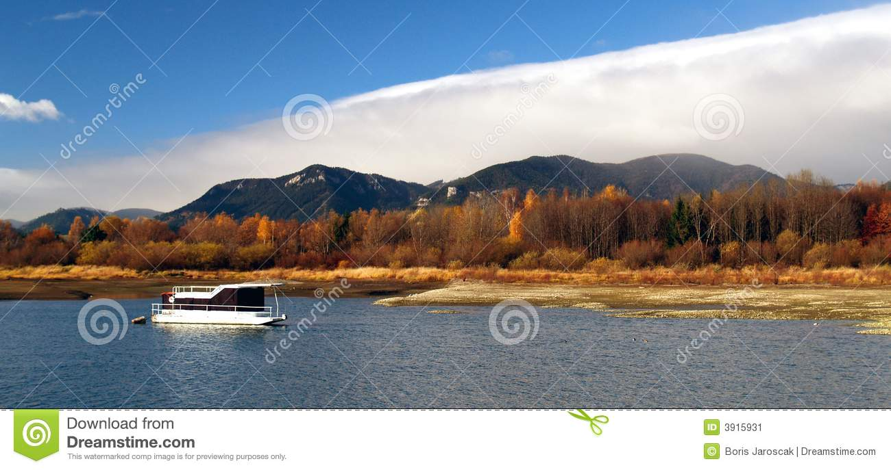 Boat on picturesque lake
