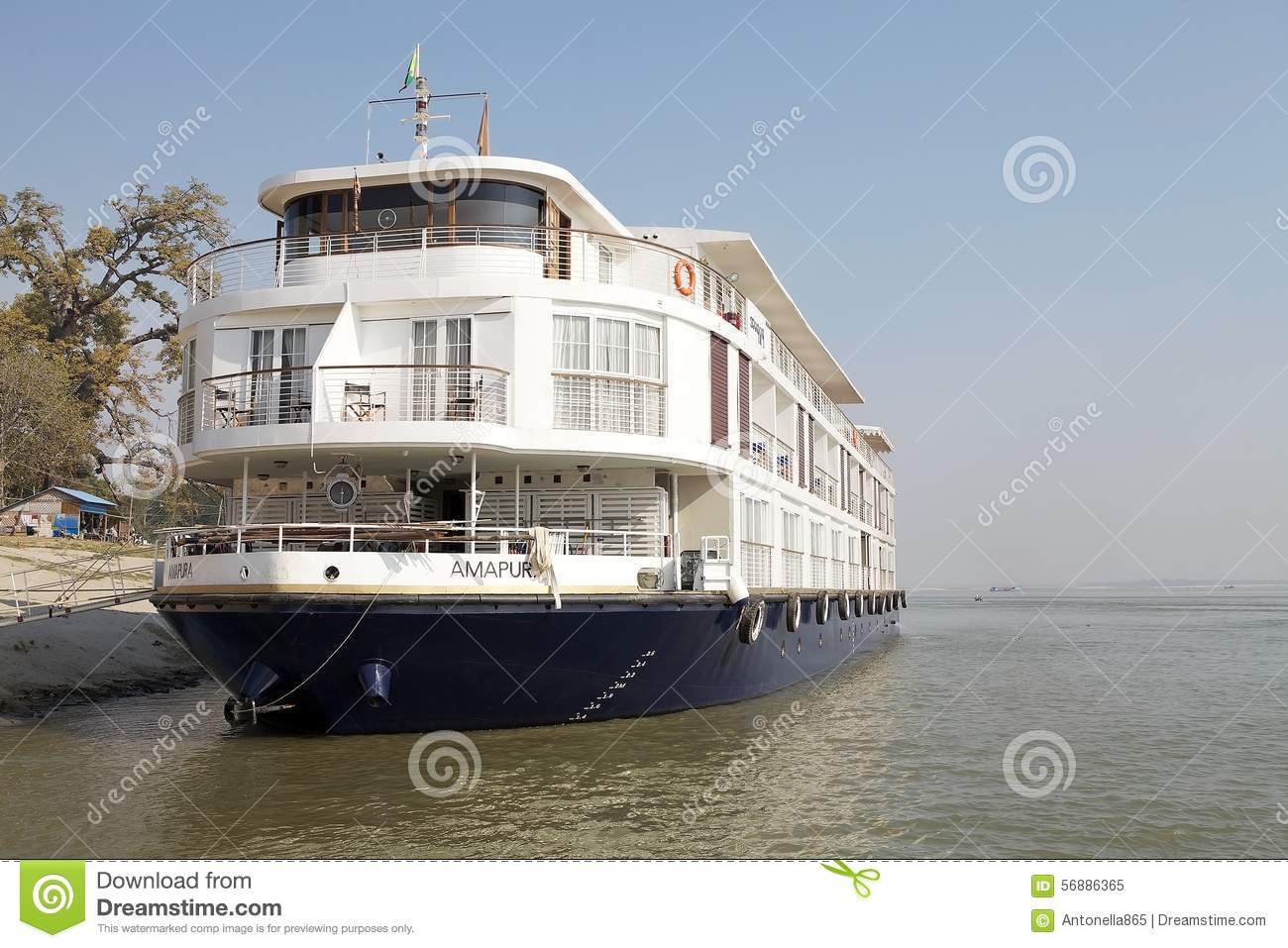 Boat for river cruises on the Irrawaddy river Myanmar
