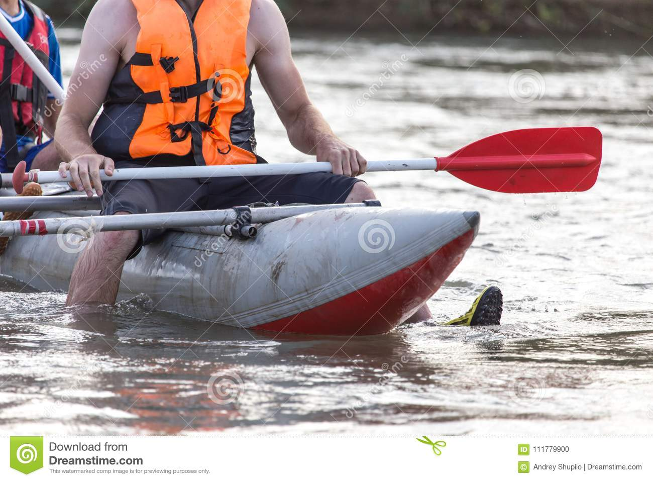 Boat on the rough river. extreme sport