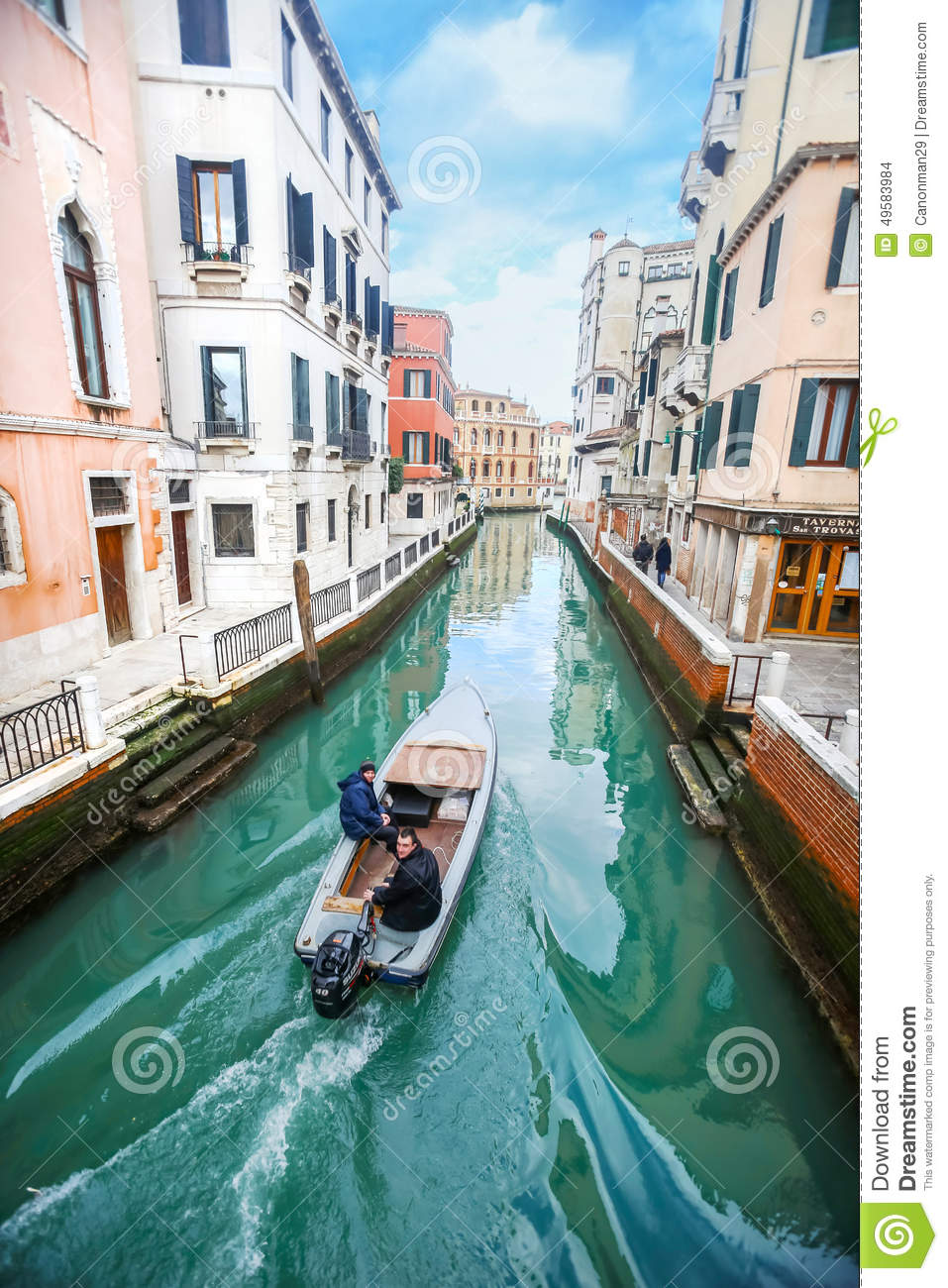 Boat Sailing In Italian Water Channel Editorial Stock ...