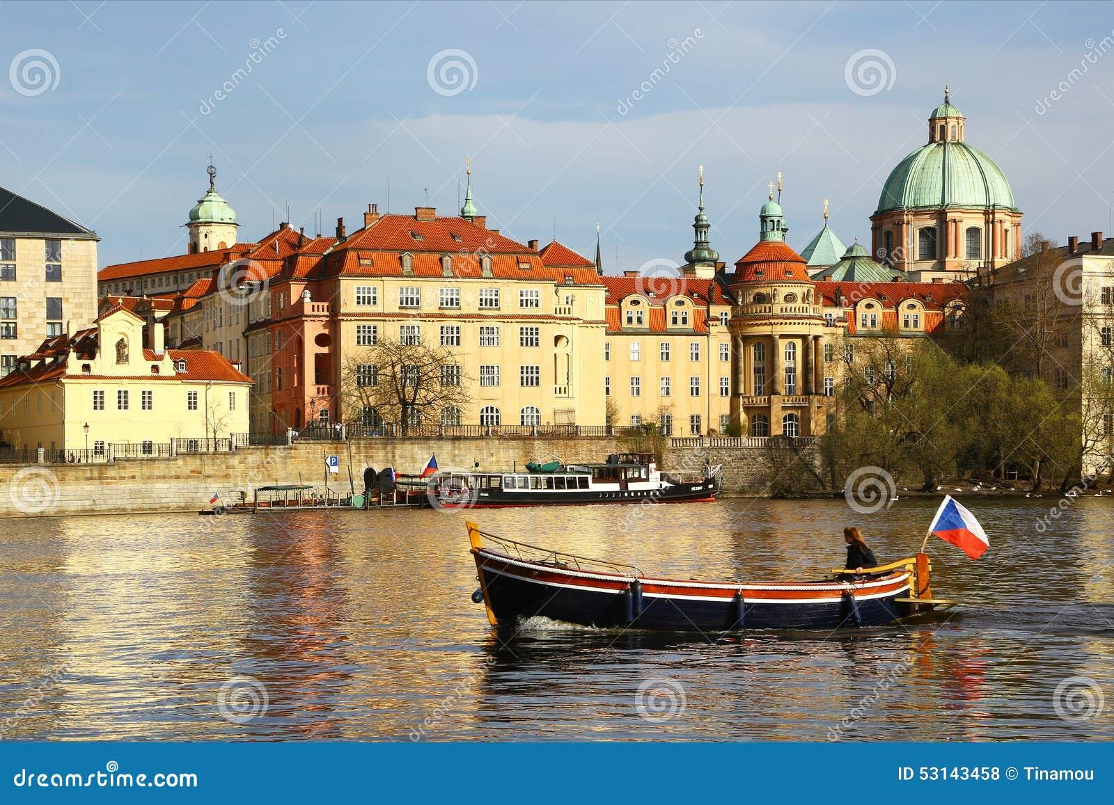 Boat sails on vltava river in central prague editorial for Central prague