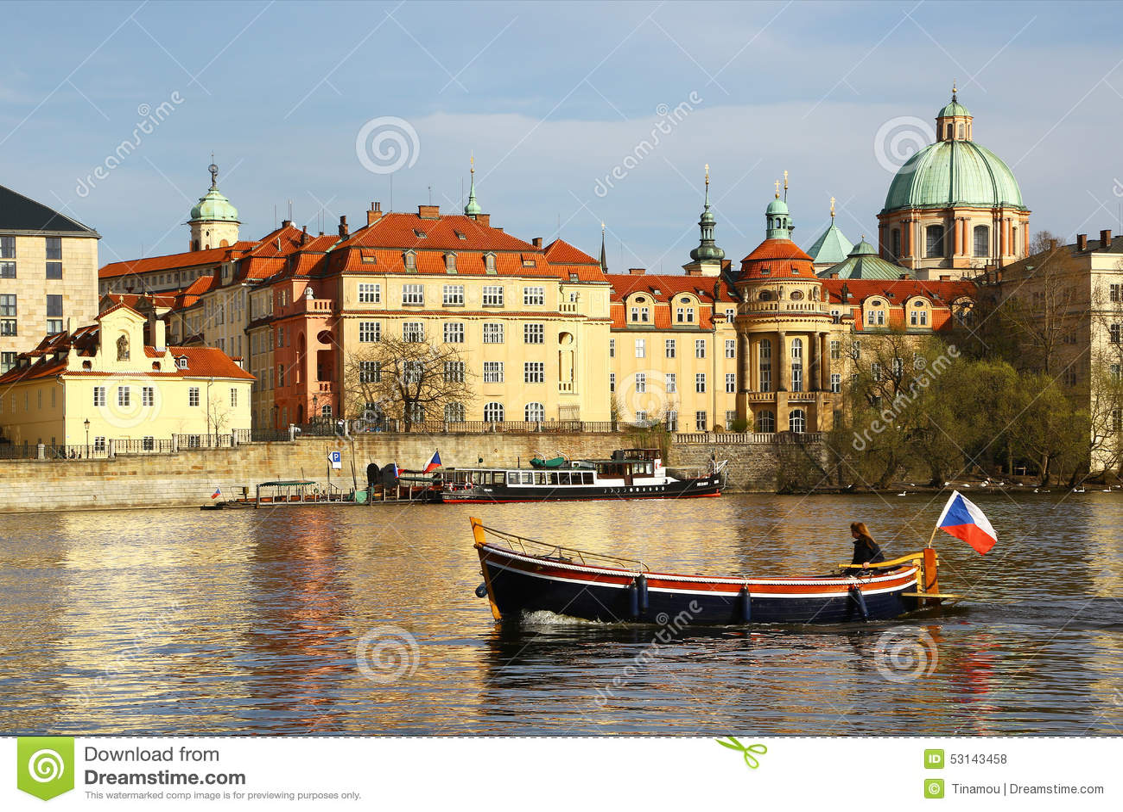 Boat Sails On Vltava River In Central Prague Editorial Stock Photo - Image: 53143458
