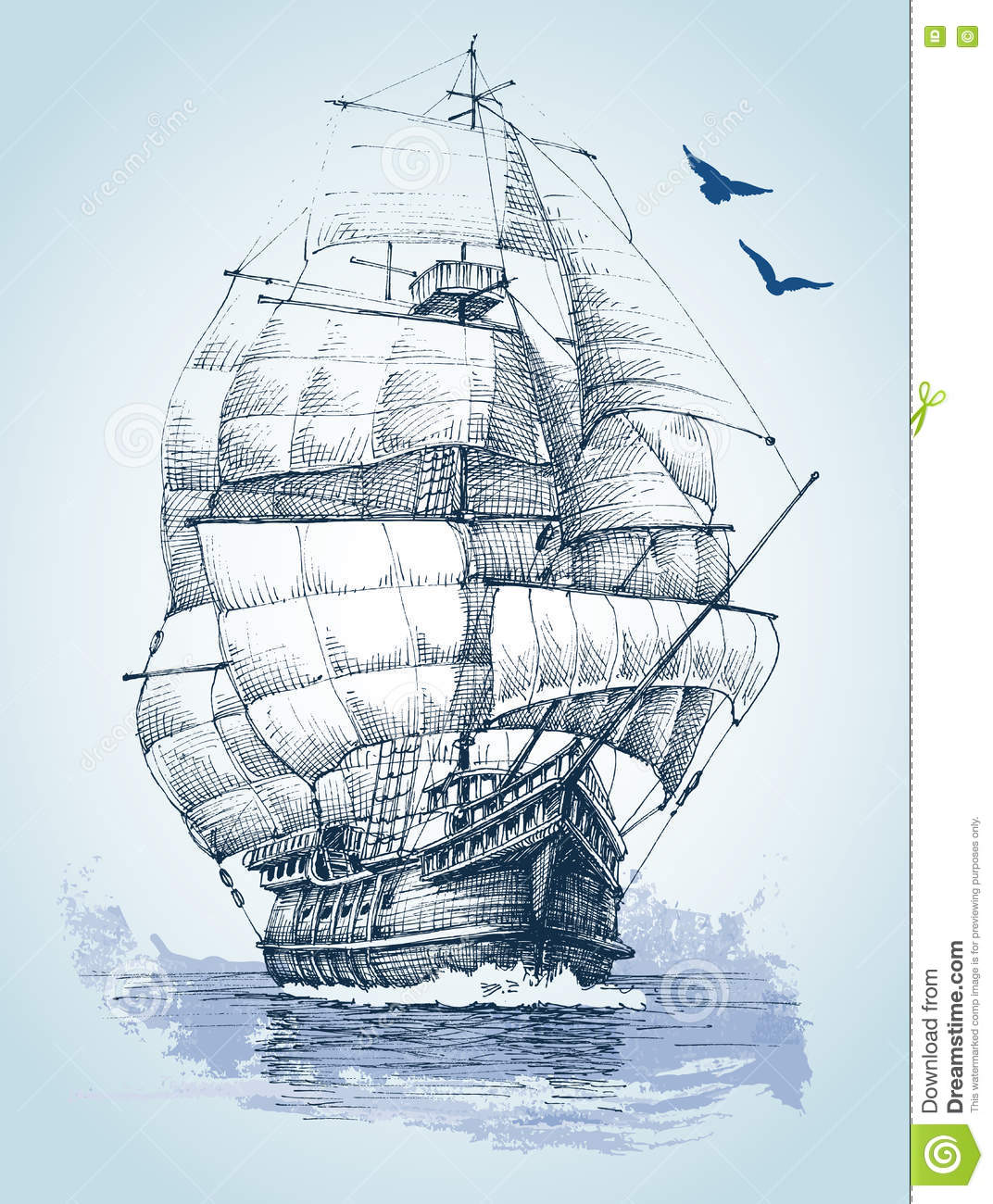 boat on sea drawing stock vector image 75254736