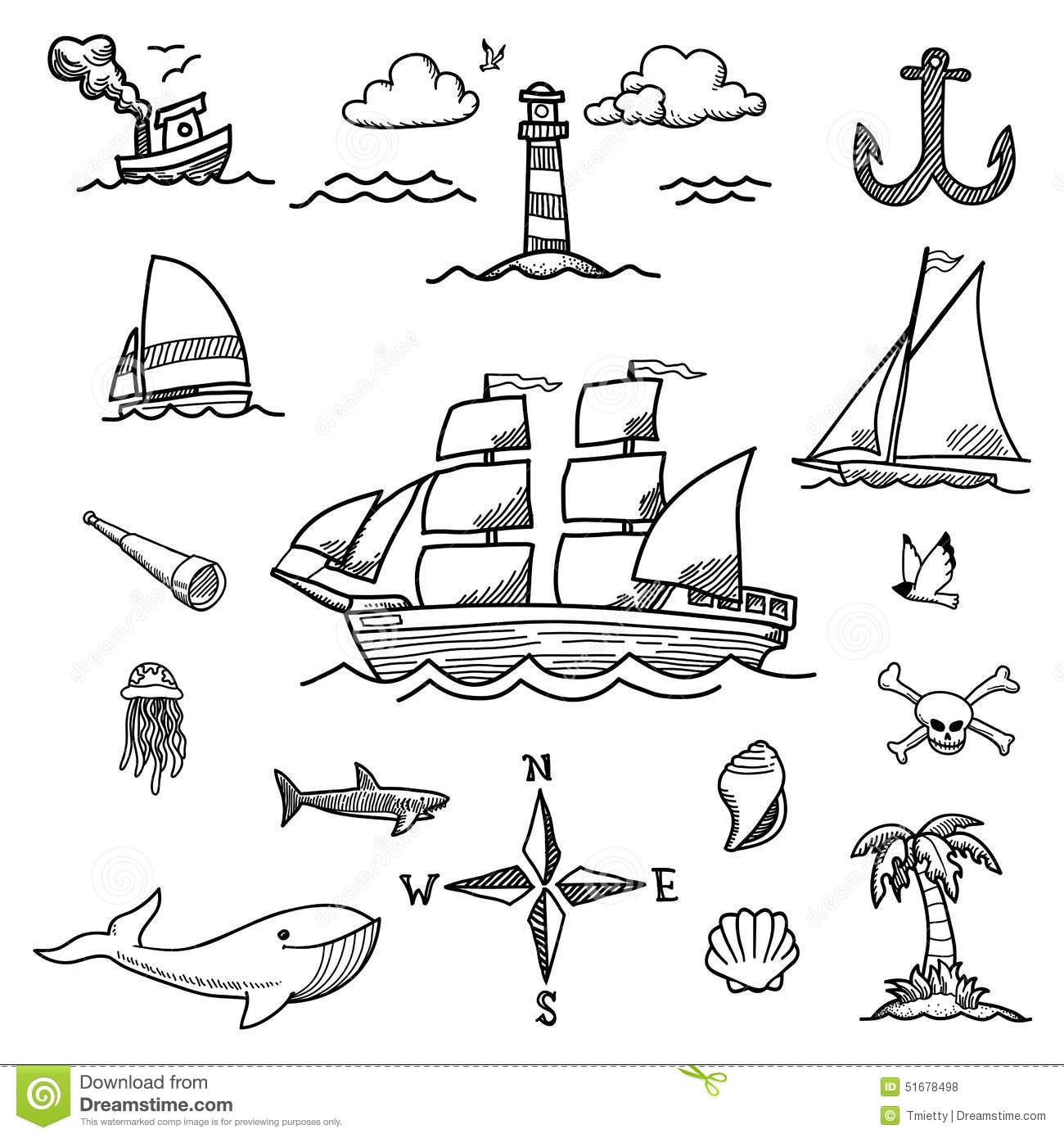 Boat And Sea Hand-drawn Doodles Stock Vector - Image: 51678498