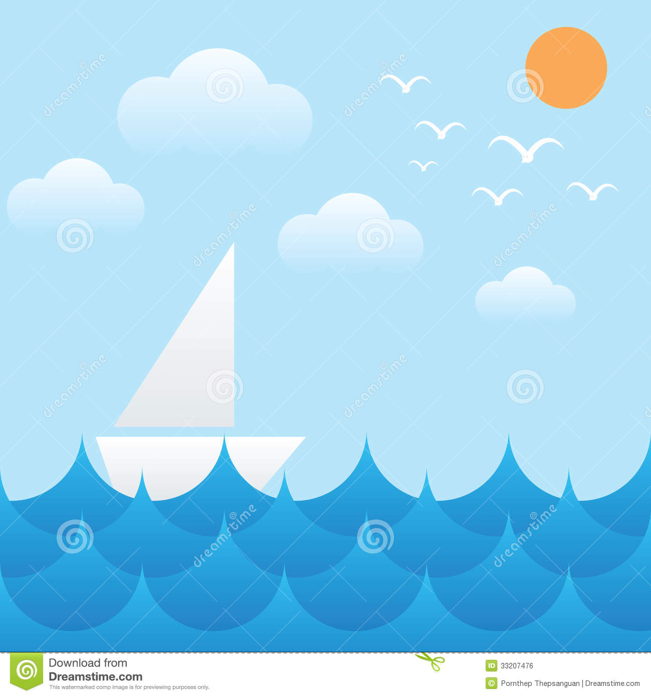 Decorative frames set download free vector art stock graphics - Boat At Sea Waves Sun Sky And Cloud Royalty Free Stock