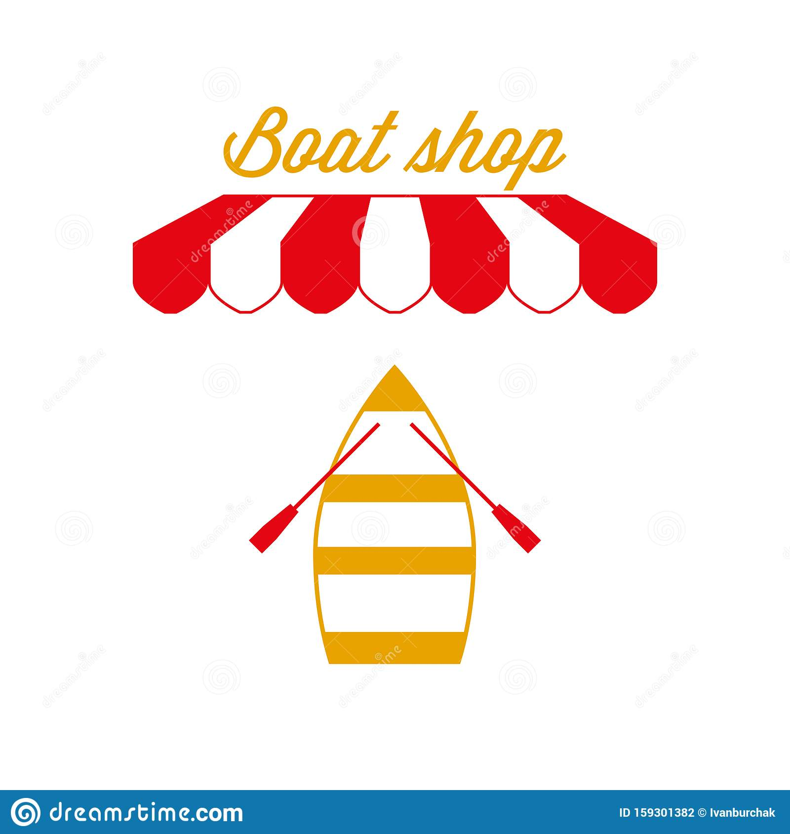 Boat Shop Sign, Emblem. Red And White Striped Awning Tent ...