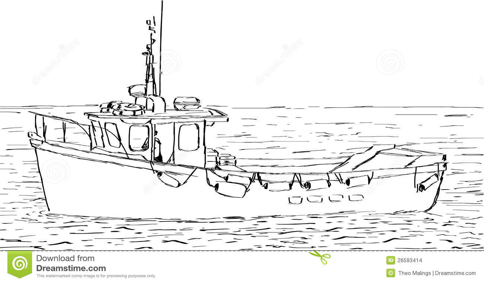 Boat Sketch stock vector. Illustration of boating, water - 26593414