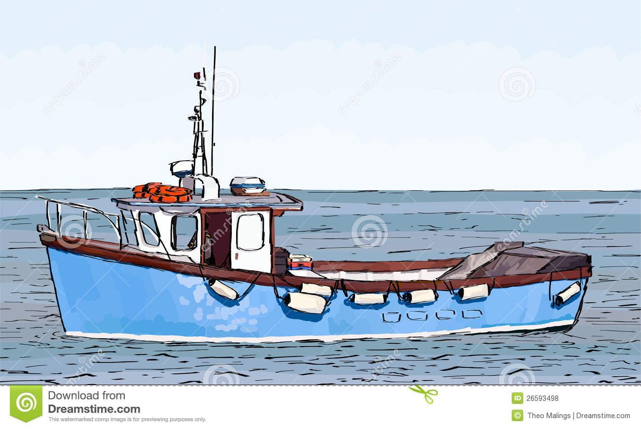 Boat Sketch With Color Fill Royalty Free Stock Photos - Image ...