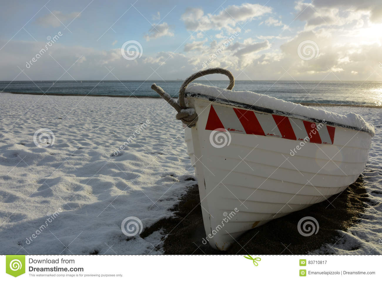 The Boat And The Snow Editorial Photography