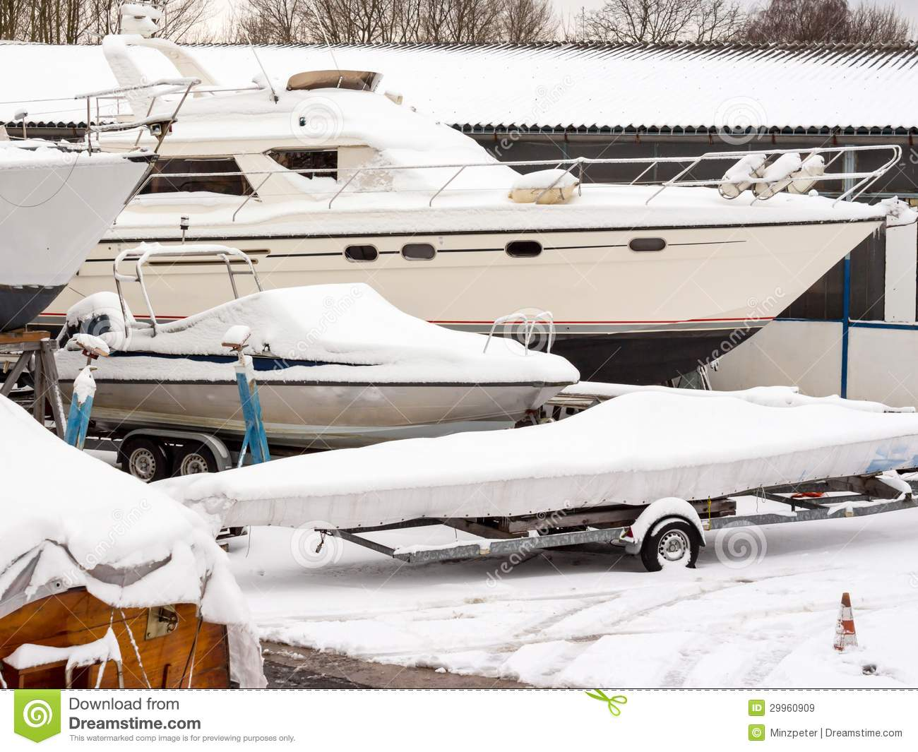 Boat Storage In Winter Royalty Free Stock Images - Image: 29960909