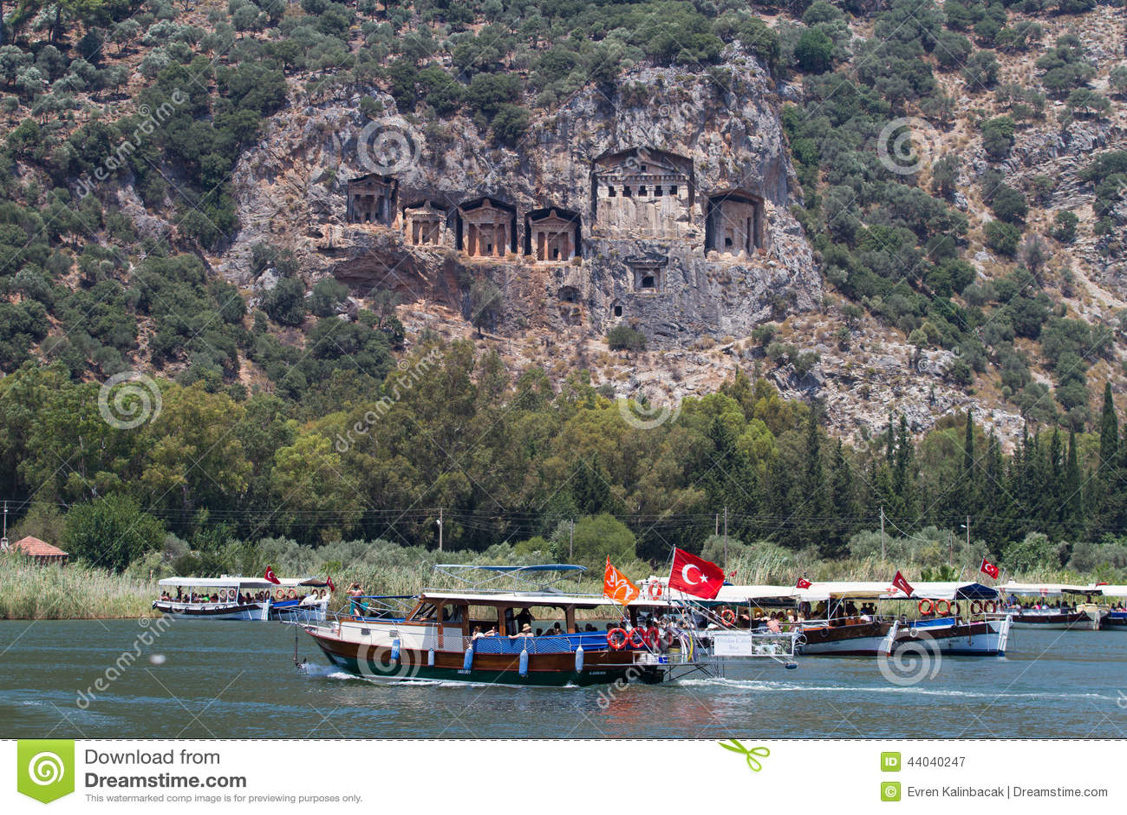 Mugla turkey july 20 2014 people in dalyan river tour river
