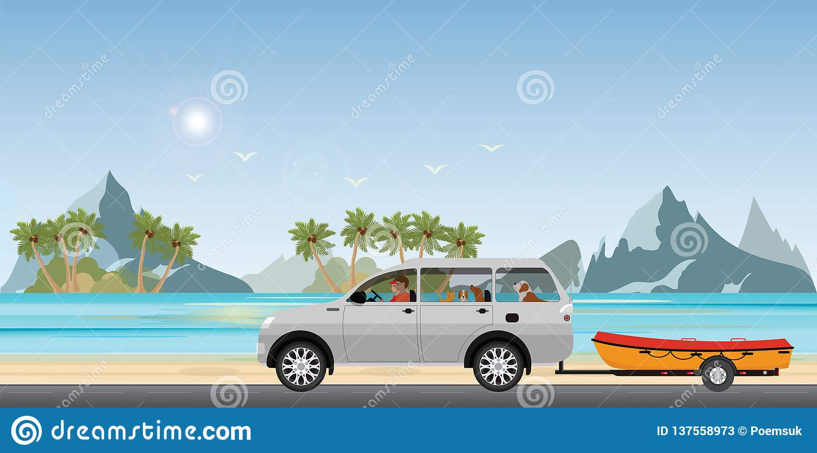 Boat towing car on road running along the sea coast