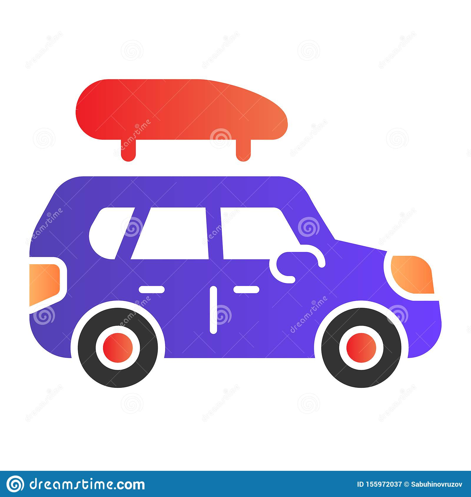 Boat trailer flat icon. Automotive with boat color icons in trendy flat style. Truck gradient style design, designed for