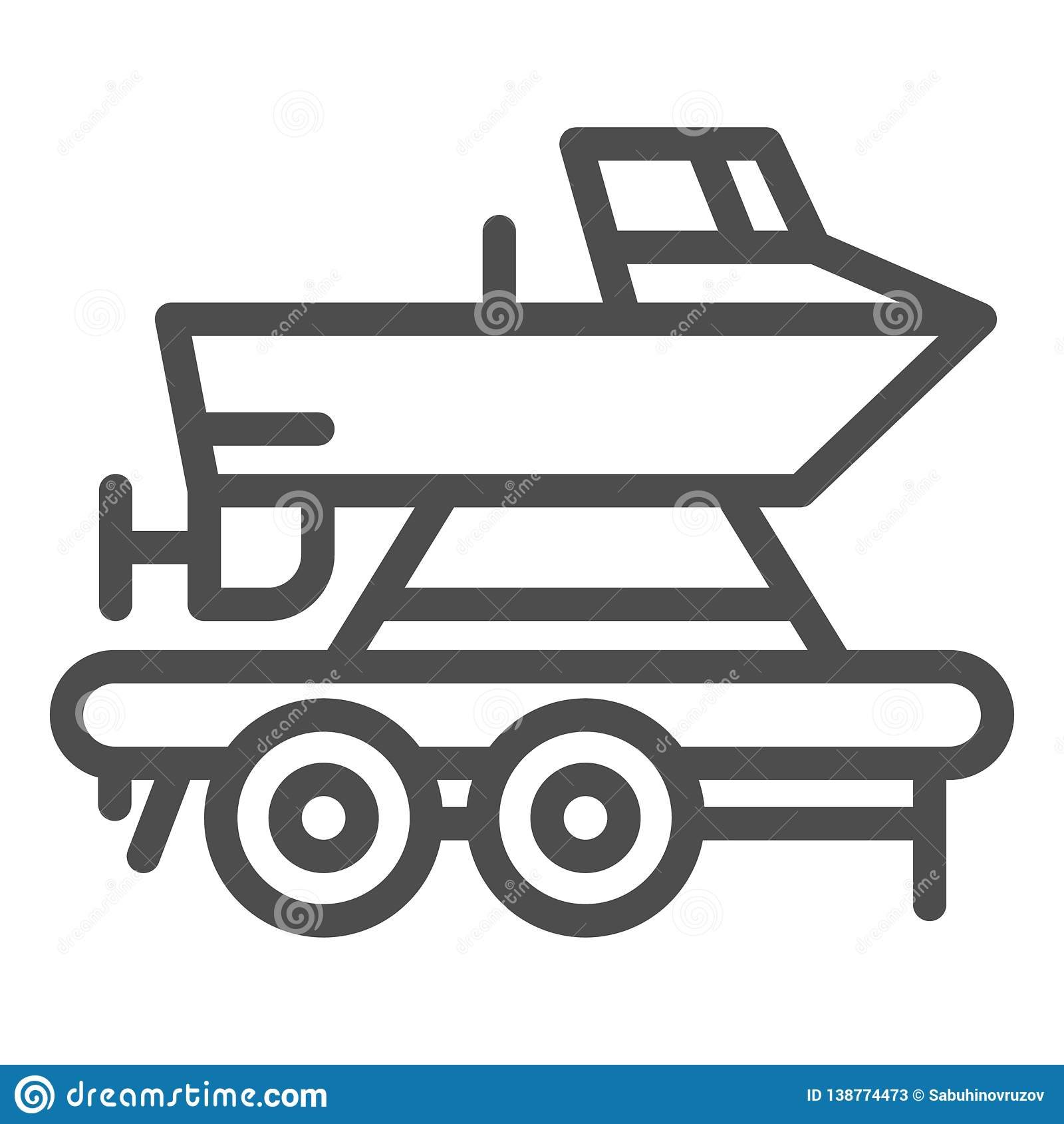 Boat on a trailer line icon. Boats transportation vector illustration isolated on white. Transportation of a ship