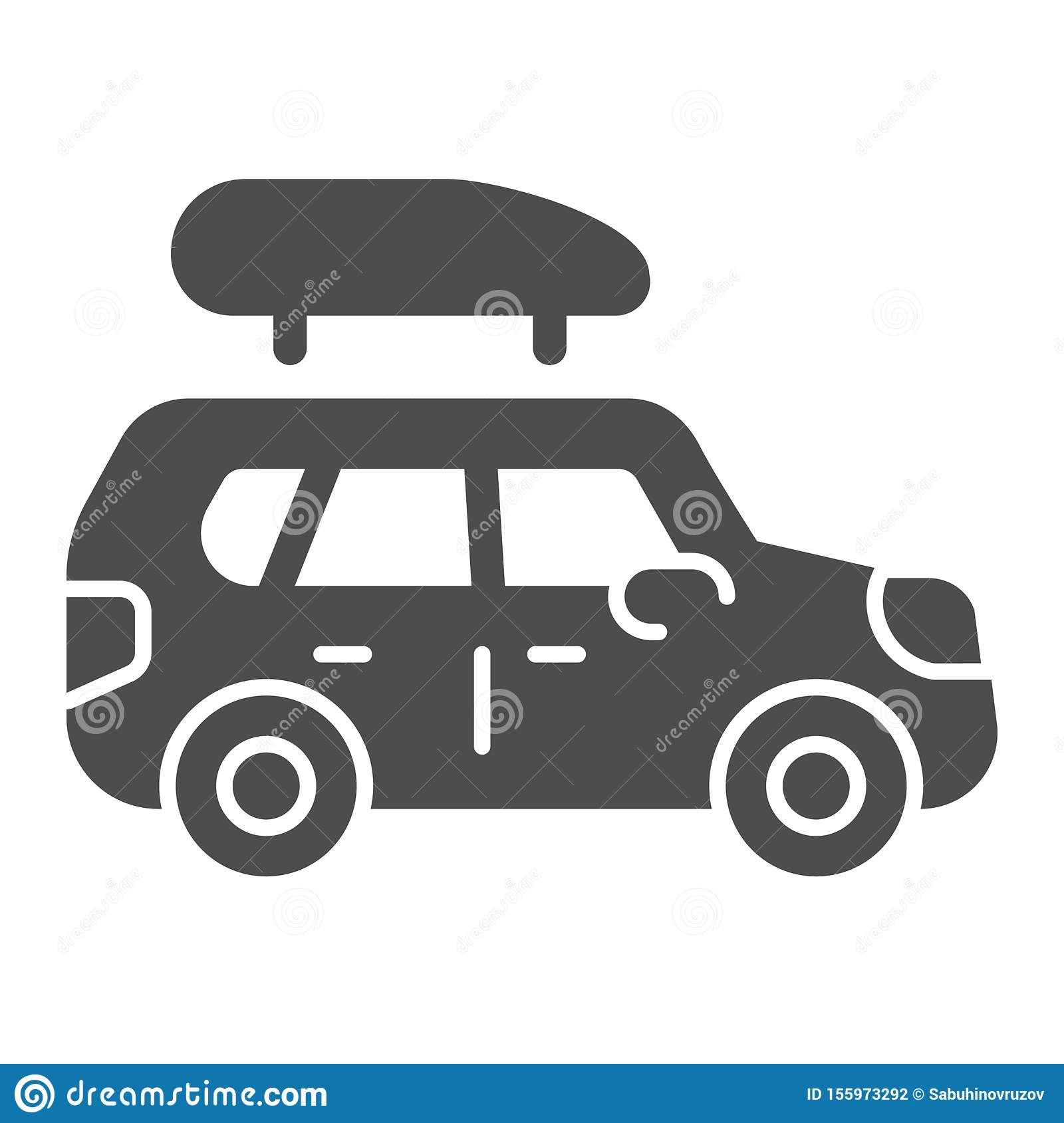 Boat trailer solid icon. Automobile with boat vector illustration isolated on white. Truck glyph style design, designed