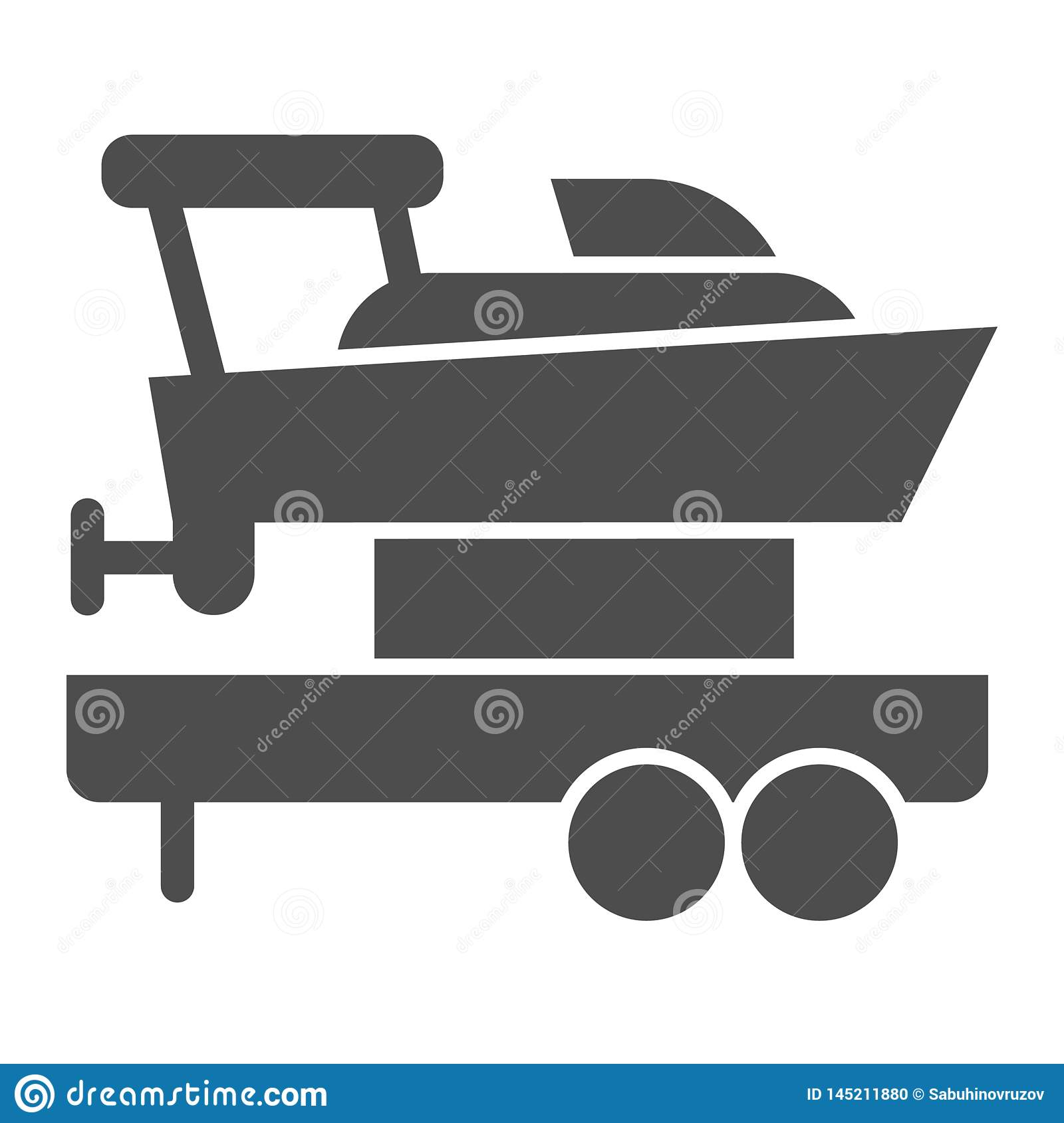 Boat with trailer solid icon. Ship transportation vector illustration isolated on white. Sailboat on truck glyph style