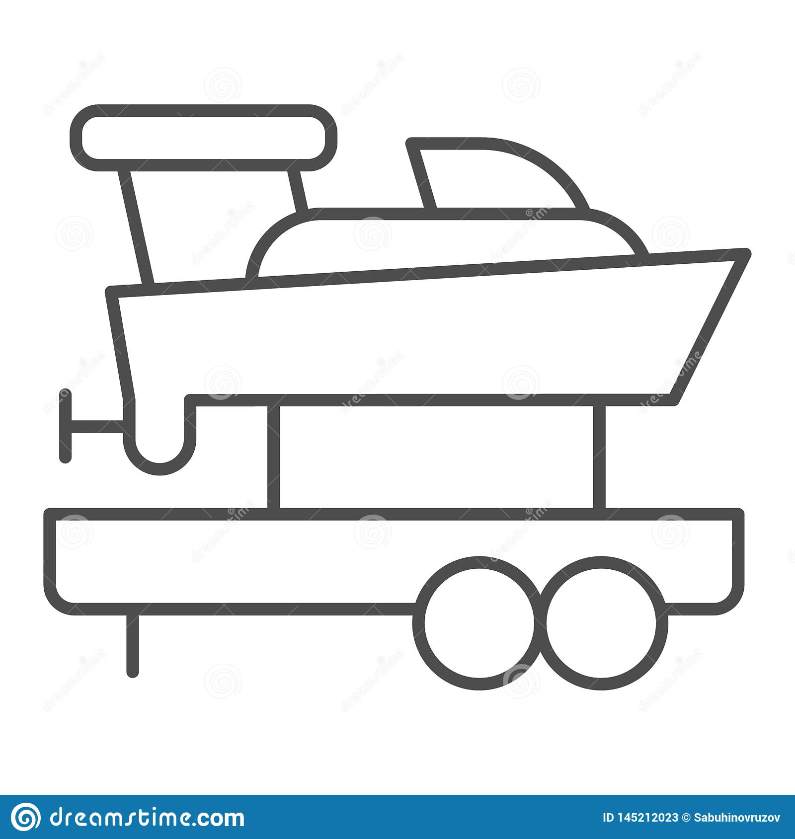 Boat with trailer thin line icon. Ship transportation vector illustration isolated on white. Sailboat on truck outline