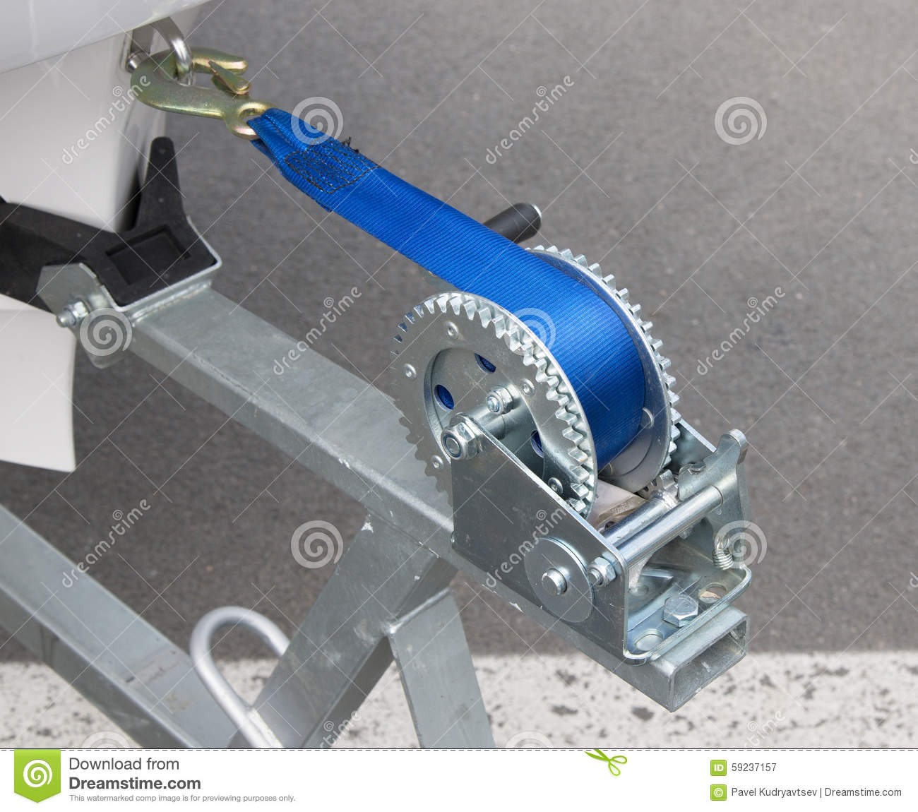Boat Trailer Winch With Blue Rope Stock Photo - Image: 59237157