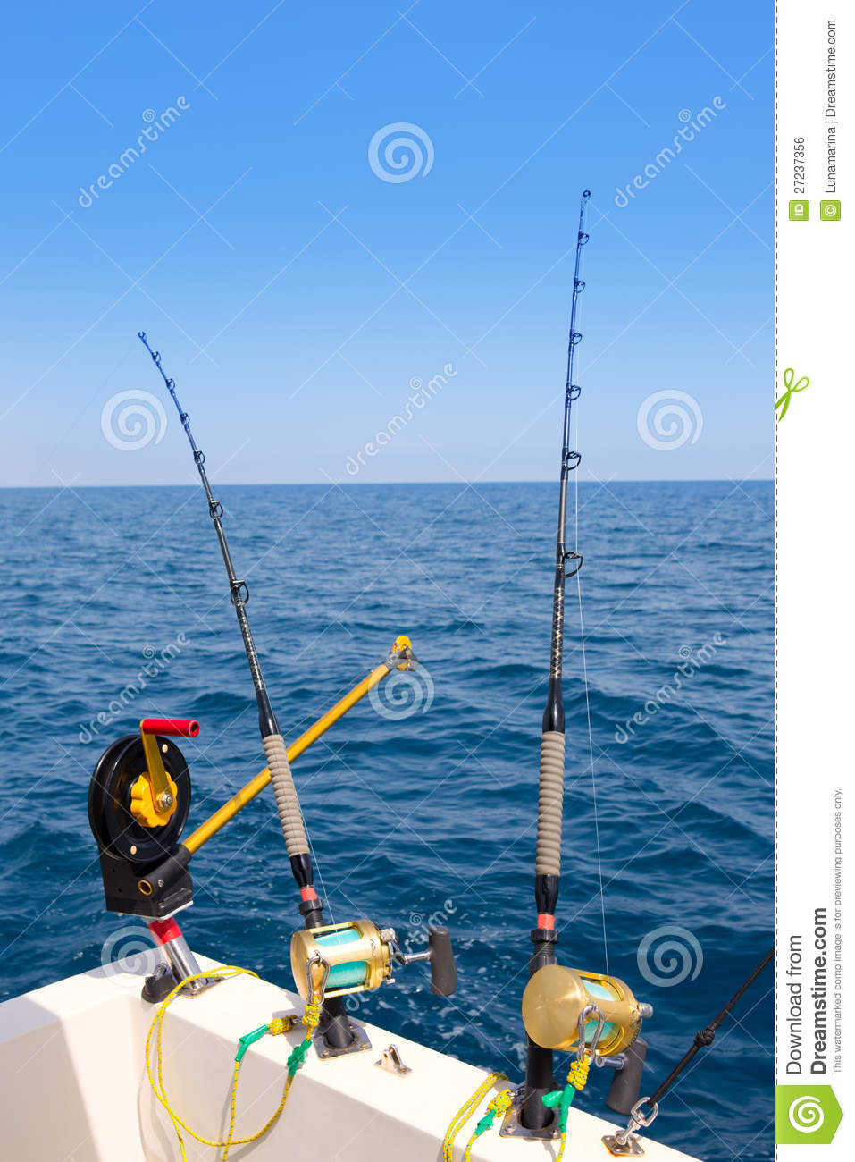 Boat Trolling Fishing Gear Downrigger And Two Rods Stock Photo - Image: 27237356