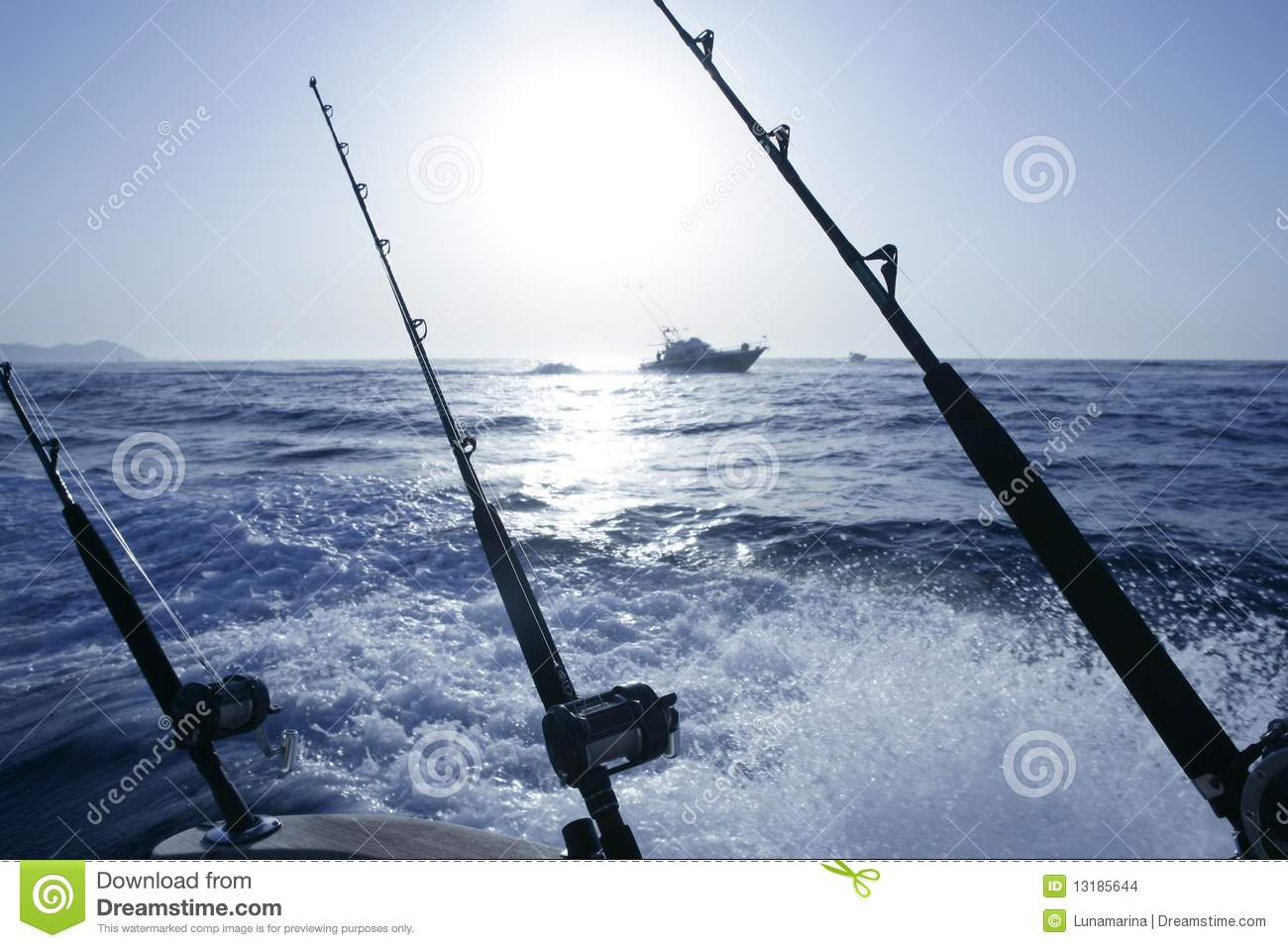 Boat Trolling Fishing On Mediterranean Stock Images - Image: 13185644