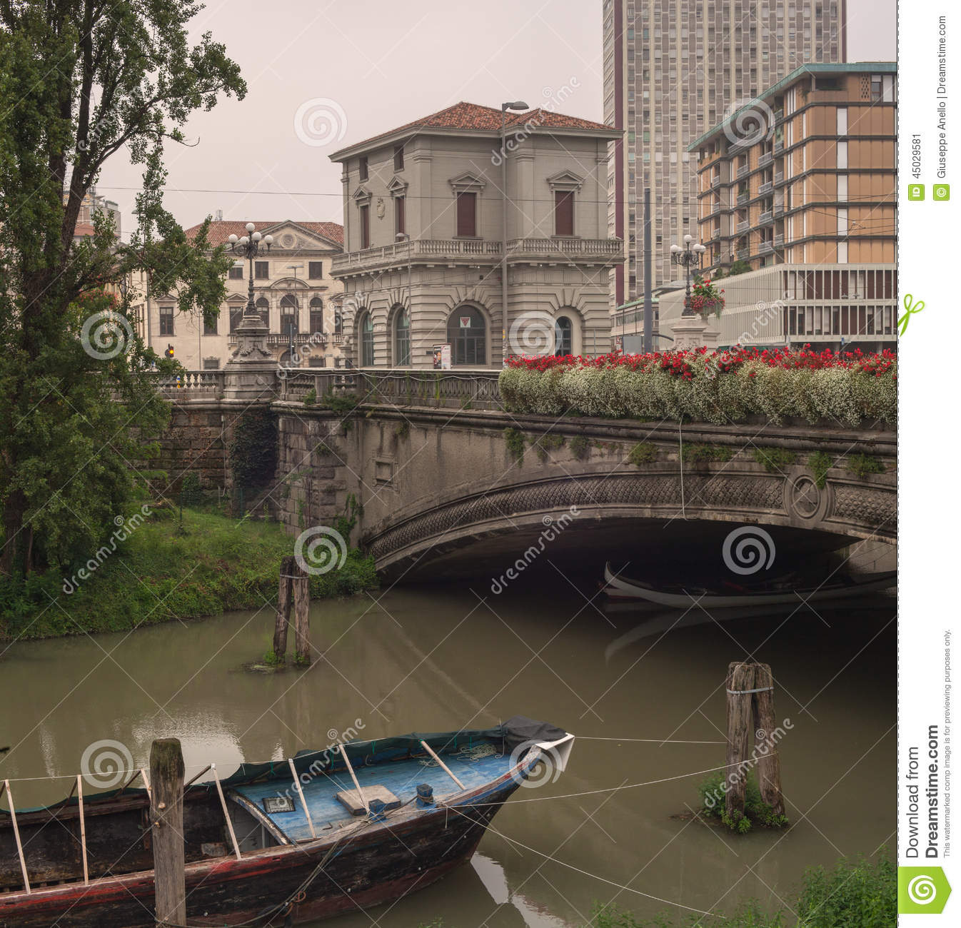 bf268bcbea Boat Under The Bridge, Padova Stock Image - Image of travel ...