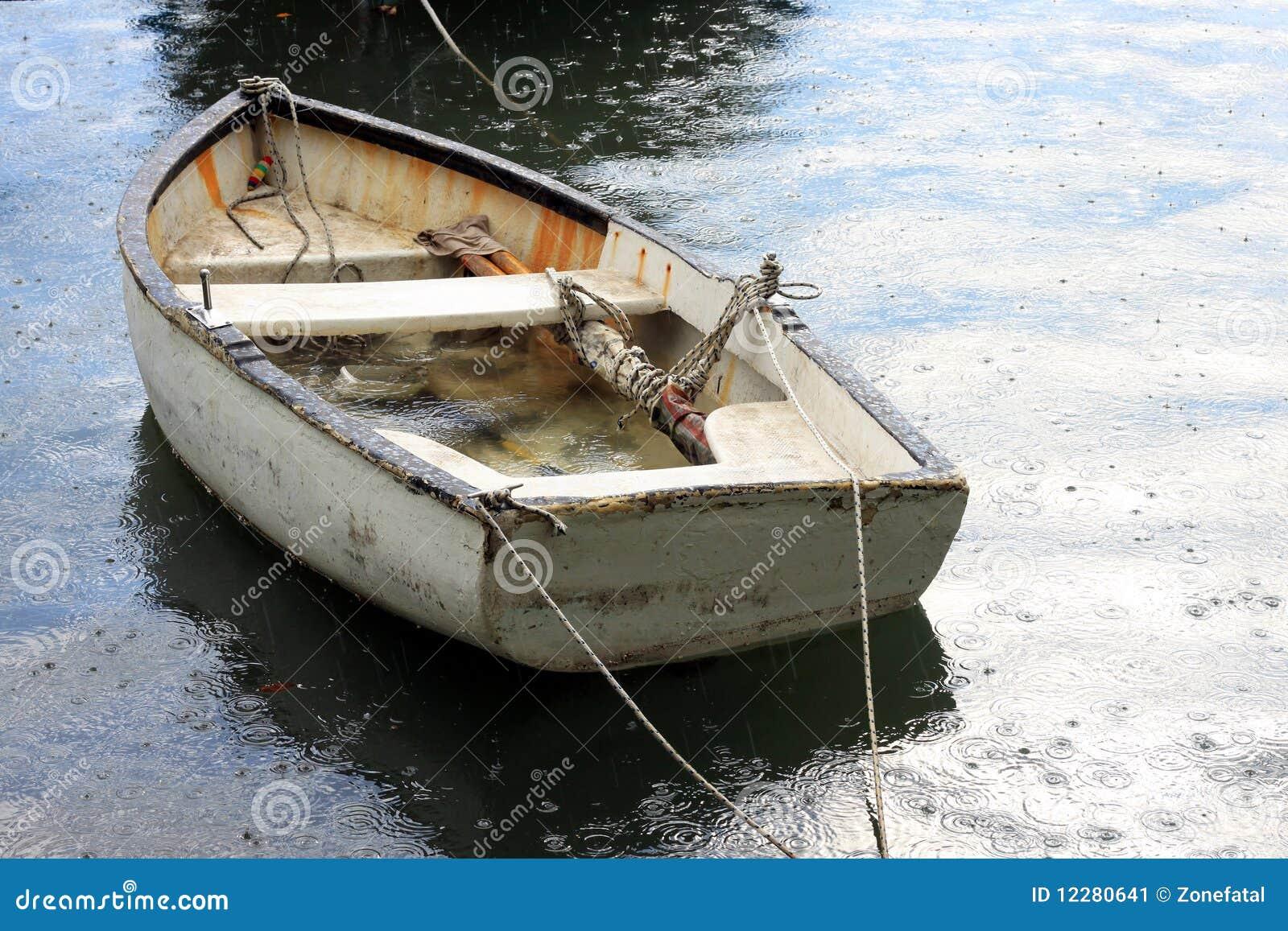 Boat Under The Rain Stock Image - Image: 12280641