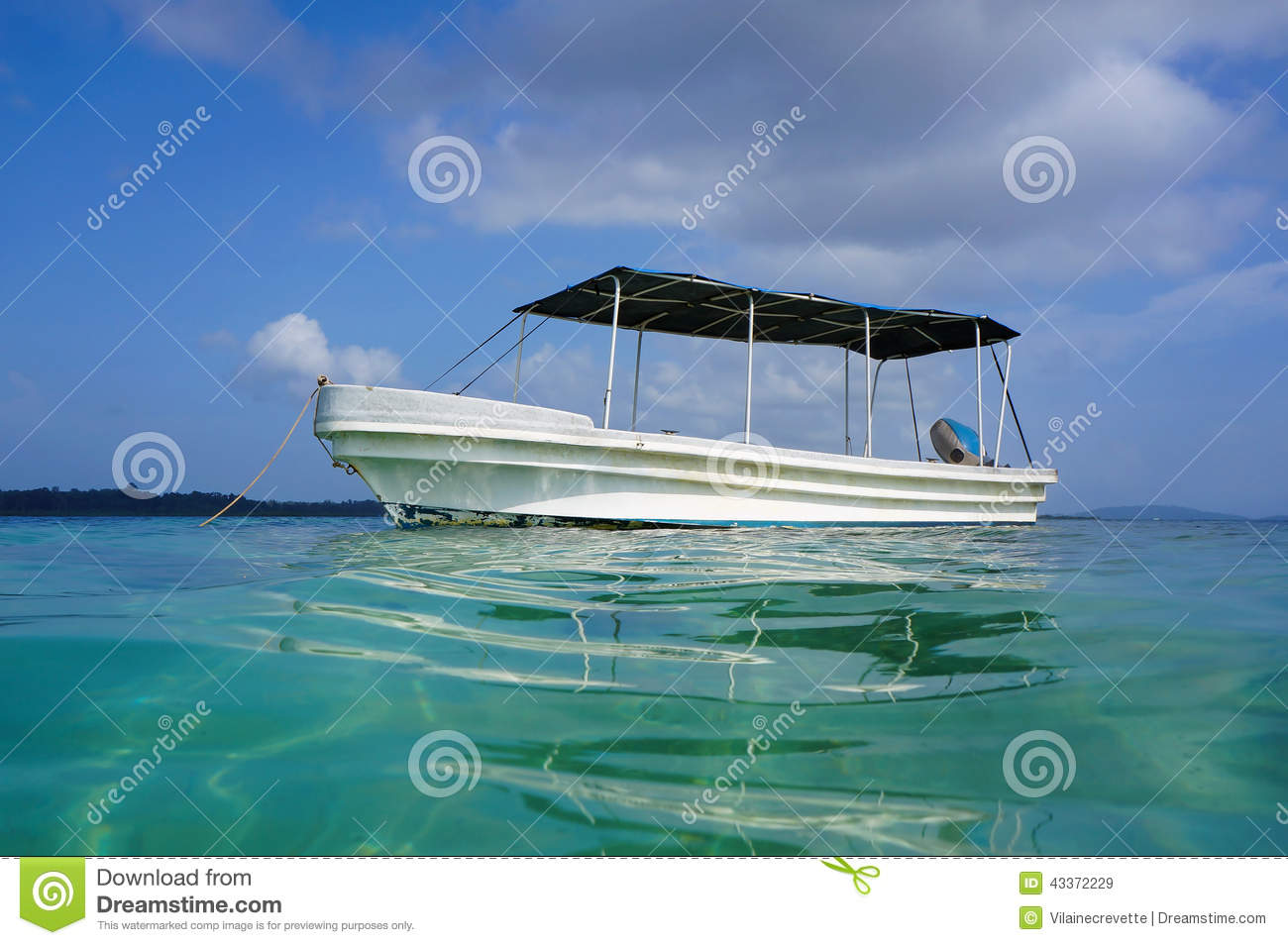 Boat Viewed From Water Surface In Caribbean Sea Stock Photo - Image: 43372229