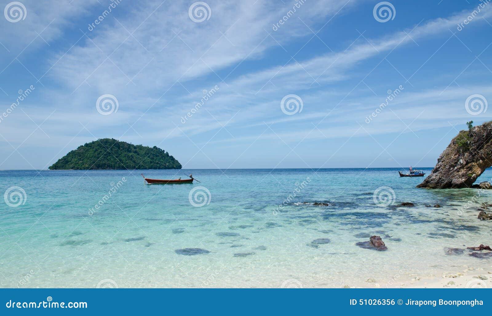 White Sand Beach With Boats and white sand beach at Li