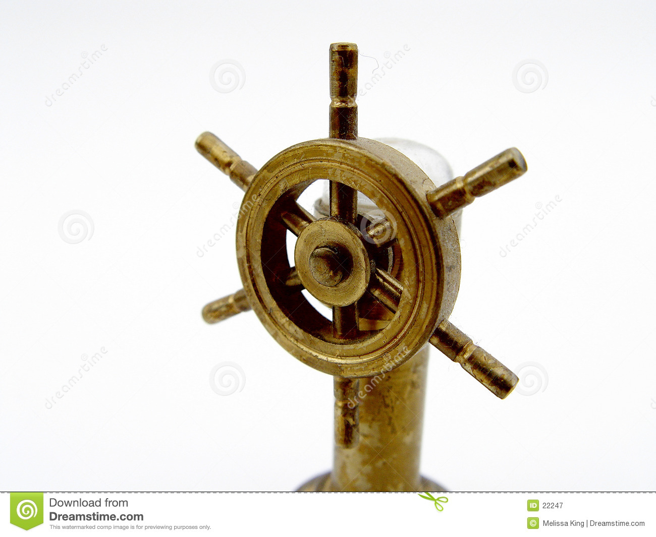 Boat Wheel isolated on white background, used for driving a boat.