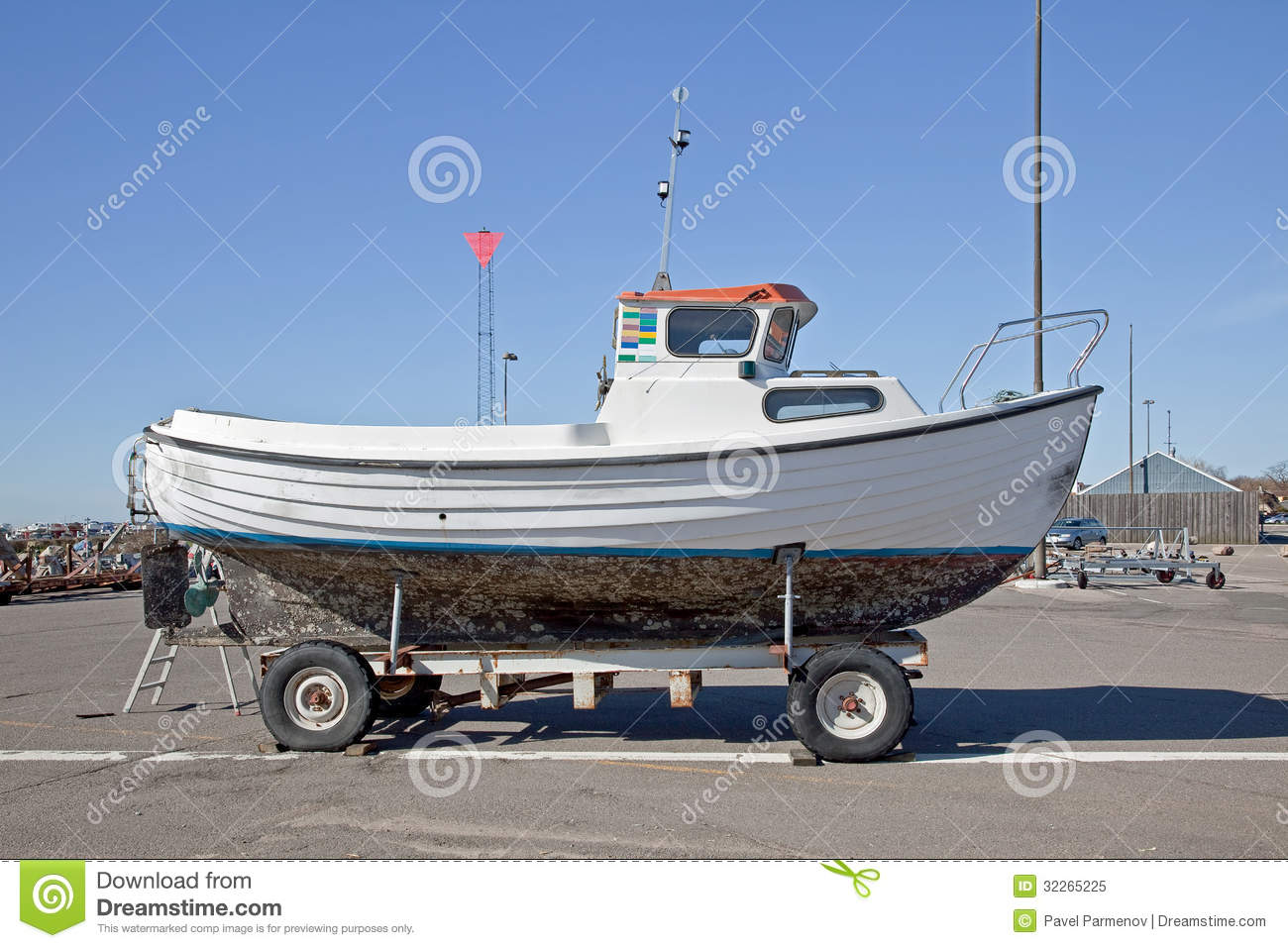 Boat on wheels royalty free stock photo image 32265225 for Boat garage on water