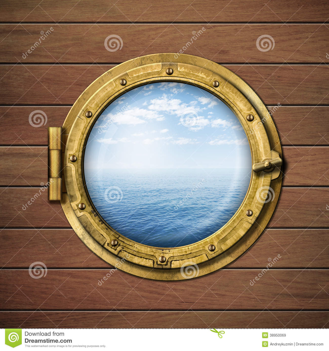 ship window or porthole with sea or ocean stock
