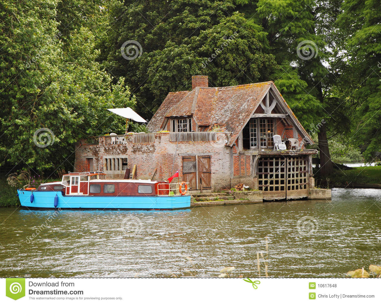 Boathouse and Moorings on the River Thames