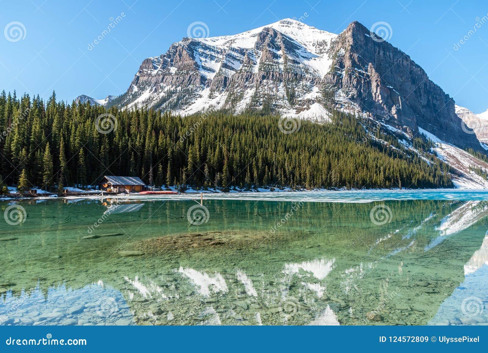 Boathouse next to Lake Louise - Banff , Alberta, Cana
