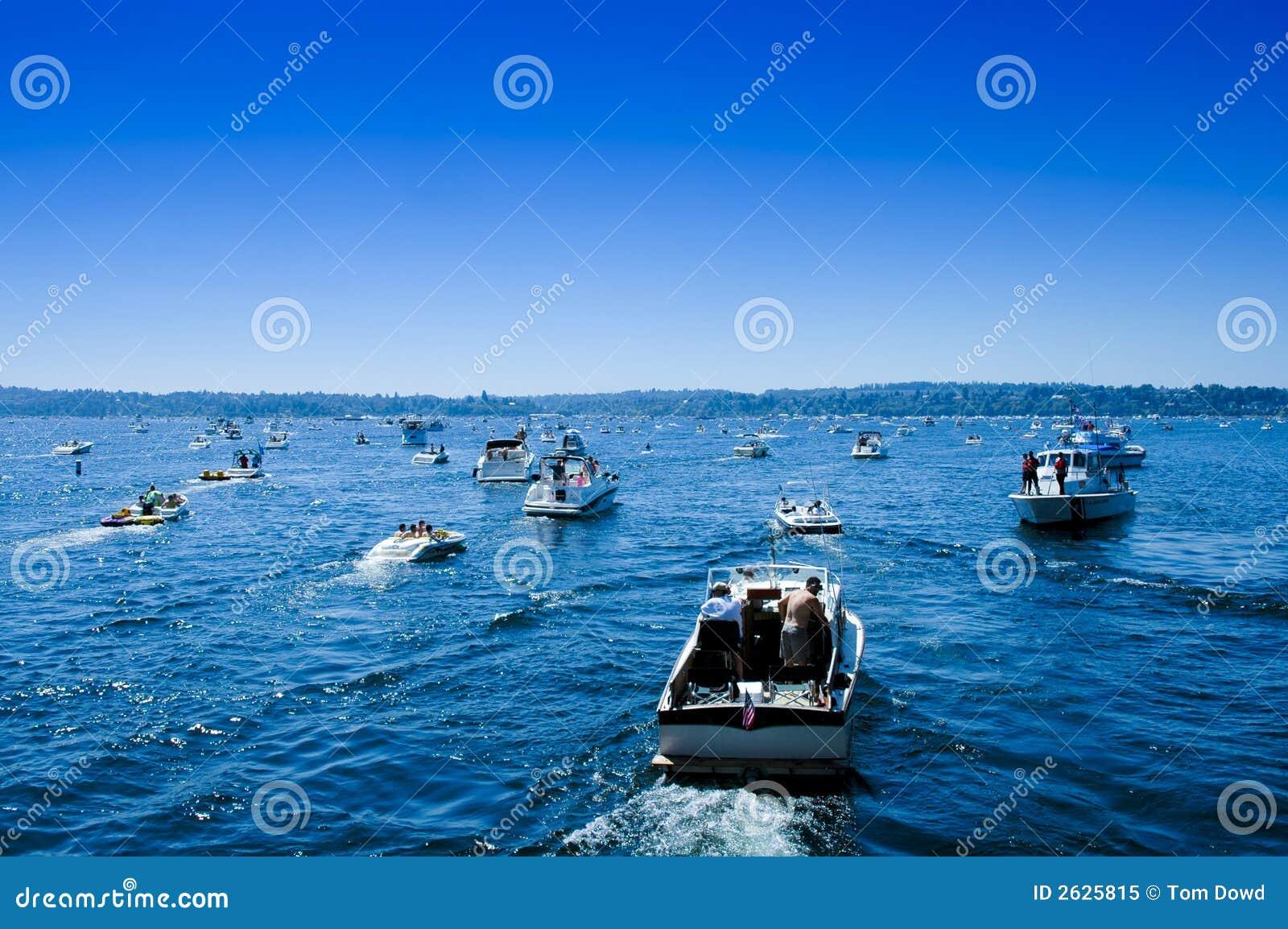 Boating traffic jam sea fair lake washington stock image for Fishing license wa