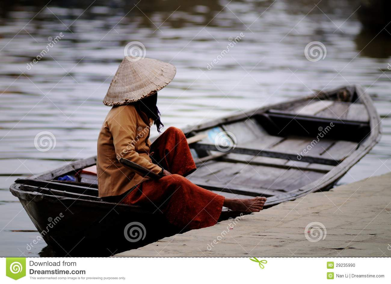 Boatman with Conical hats in Vietnam